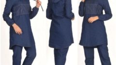 Tesettürlü Kadın Kot Takım Elbise Modeli