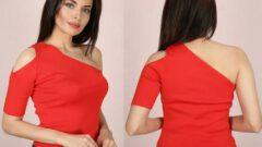 Tek Omuz Triko Yazlık Kadın Bluz Modelleri